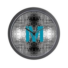 Teal Monogram Industrial Style Wall Clock
