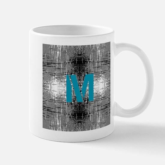 Teal Monogram Industrial Style Mugs