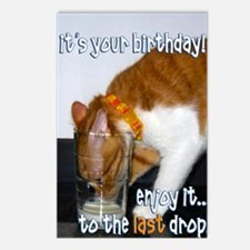 Humorous Cat Drinking Fro Postcards (Package Of 8)