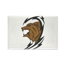 Tribal Grizzly Bear Design Rectangle Magnet