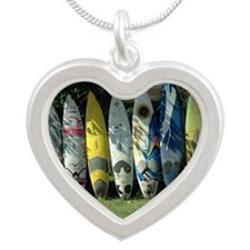 Surfboard Fence Silver Heart Necklace