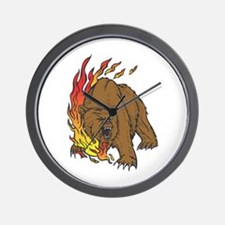 Flames and Grizzly Bear Design Wall Clock