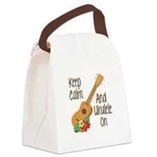keep Calm And Ukulele On Canvas Lunch Bag