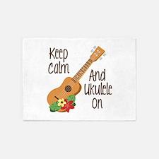 keep Calm And Ukulele On 5'x7'Area Rug