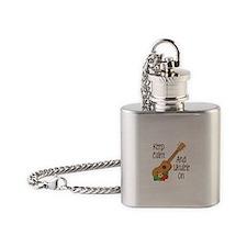 keep Calm And Ukulele On Flask Necklace