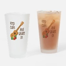 keep Calm And Ukulele On Drinking Glass
