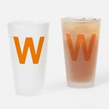 Letter W Orange Drinking Glass