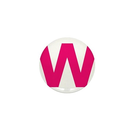Letter W Pink Mini Button (100 pack)