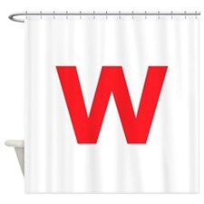 Letter W Red Shower Curtain
