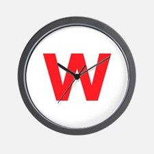 Letter W Red Wall Clock