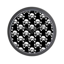 Skull And Crossbones Pattern Wall Clock