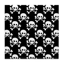 Skull And Crossbones Pattern Tile Coaster