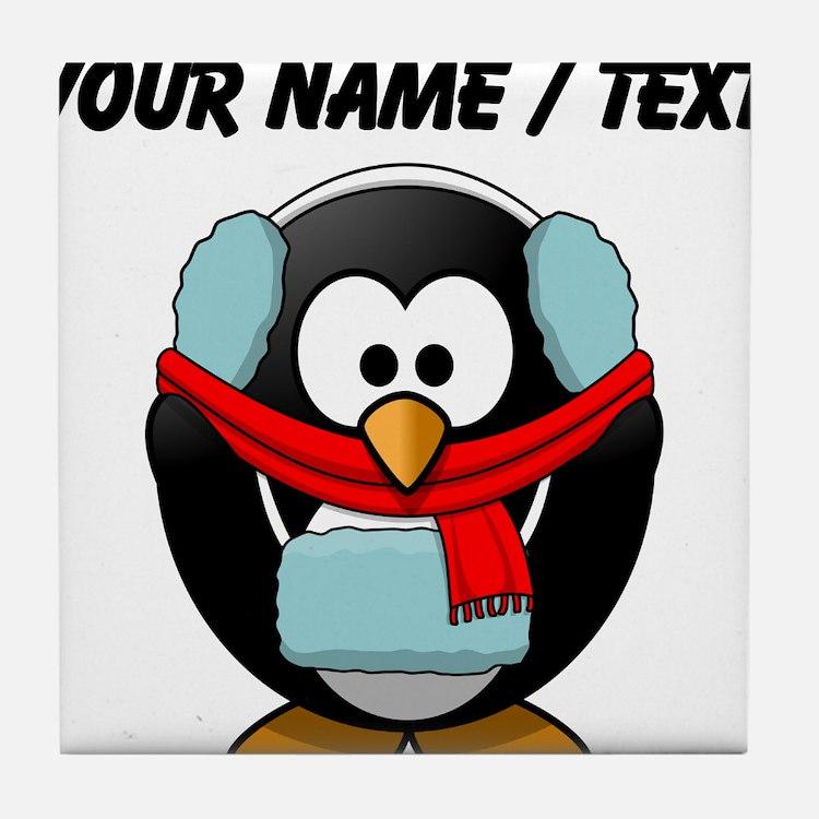 Custom Winter Penguin Tile Coaster