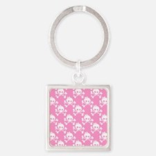 Girl Skull And Crossbones Pattern Square Keychain