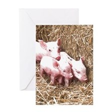 3 Little Piglets Greeting Cards