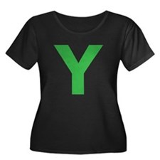 Letter Y Green Plus Size T-Shirt