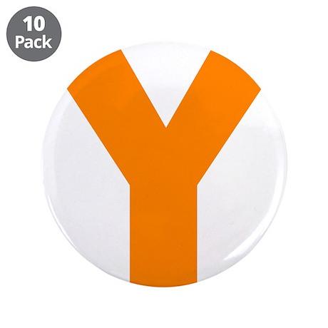 "Letter Y Orange 3.5"" Button (10 pack)"