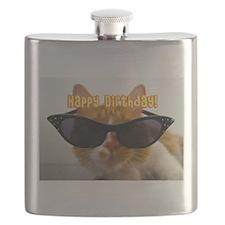Happy Birthday Cat Wearing Sunglasses Flask