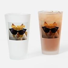 Happy Birthday Cat Wearing Sunglasses Drinking Gla