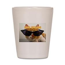 Happy Birthday Cat Wearing Sunglasses Shot Glass