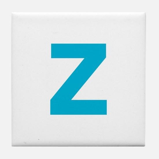 Letter Z Blue Tile Coaster