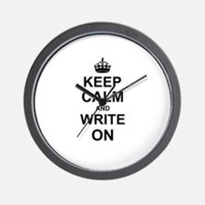 Keep Calm and Write on Wall Clock