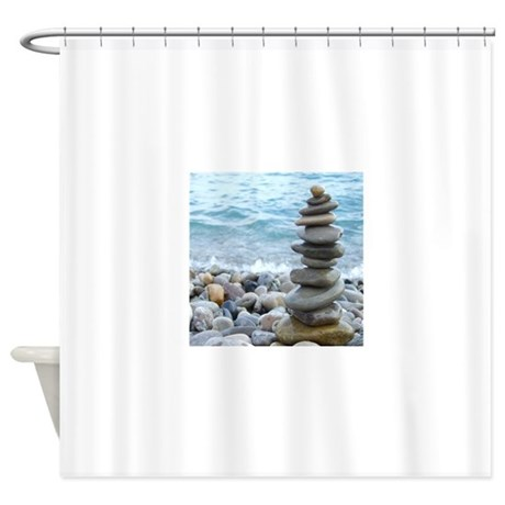 zen stone tower shower curtain by admin cp49789583
