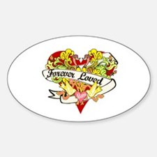 Forever Loved Red Heart Oval Decal