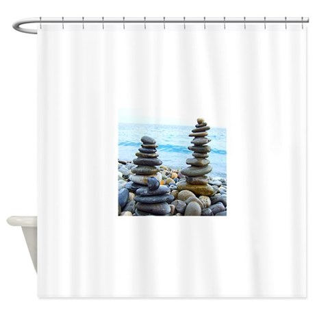 zen rock towers shower curtain by admin cp49789583
