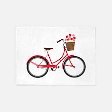 Bicycle Bike Flower Basket Sweet Ride 5'x7'Area Ru