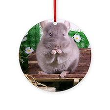 Tan velvet chinchilla Round Ornament