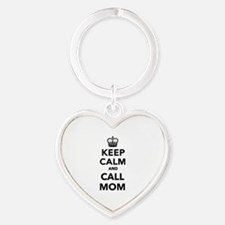 Keep calm and call Mom Heart Keychain