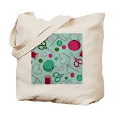 Cute Sewing Themed Print Tote Bag