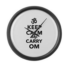 Keep calm and carry om Large Wall Clock