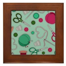 Cute Sewing Themed Print Framed Tile