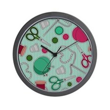Cute Sewing Themed Print Wall Clock