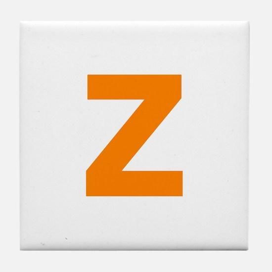 Letter Z Orange Tile Coaster