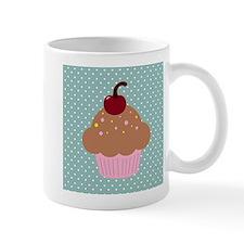 Pink Cupcake on Green Mugs