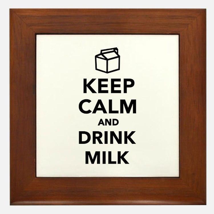 Keep calm and drink Milk Framed Tile