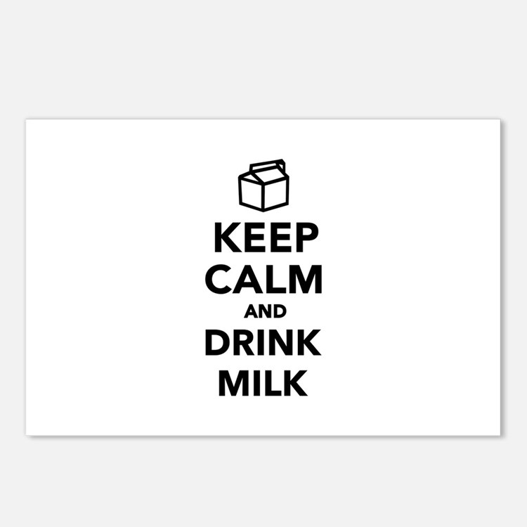 Keep calm and drink Milk Postcards (Package of 8)