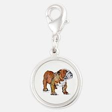 Bulldog by Cherry ONeill Silver Round Charm