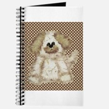 Cute Puppy Dog on Polka Dots Journal