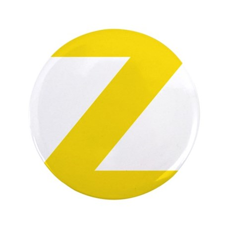 """Letter Z Yellow 3.5"""" Button"""
