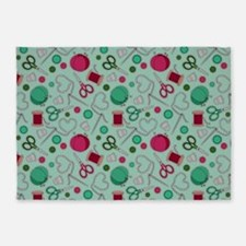 Cute Sewing Love Themed Print Green 5'x7'Area Rug