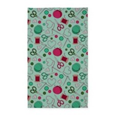 Cute Sewing Love Themed Print Green 3'x5' Area Rug