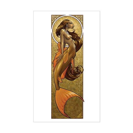 Bronze Mermaid Nouveau Rectangle Sticker