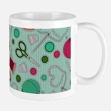 Cute Sewing Love Themed Print Green Mugs