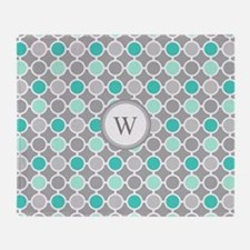Teal Grey Aqua Circles Monogram Throw Blanket