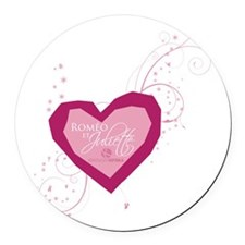 Romeo and Juliette Heart Round Car Magnet