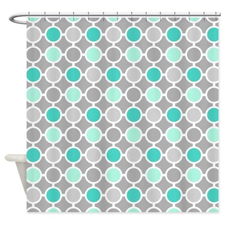 Teal grey aqua circles pattern shower curtain by